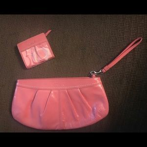 Pink Coach Clutch purse and matching wallet